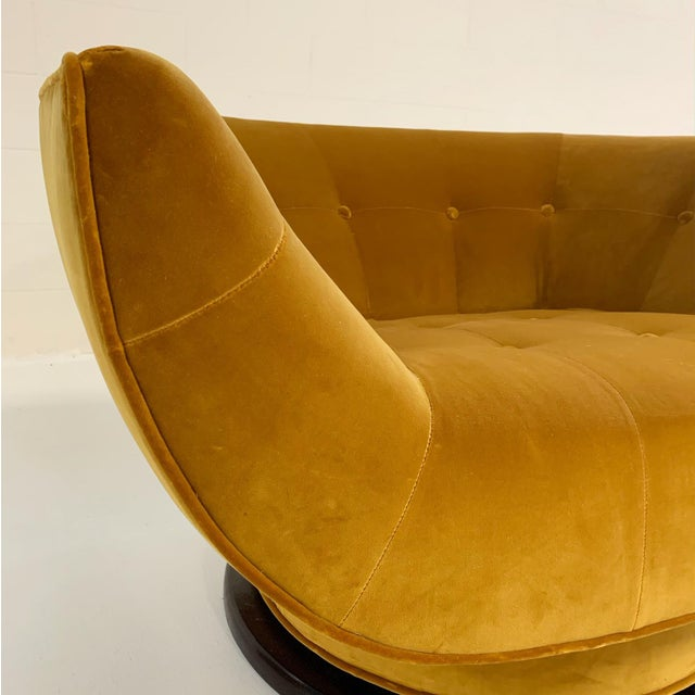 Cotton Adrian Pearsall Swivel Lounge Chair in Loro Piana Velvet For Sale - Image 7 of 11