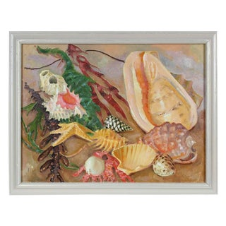 """Frederick Pomeroy """"Coastal Still Life With Seashells and Seaweed"""" Oil Painting on Canvas For Sale"""