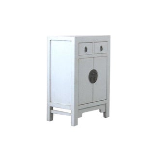 Chinese Off-White Lacquer Bedside Cabinet/Nightstand For Sale