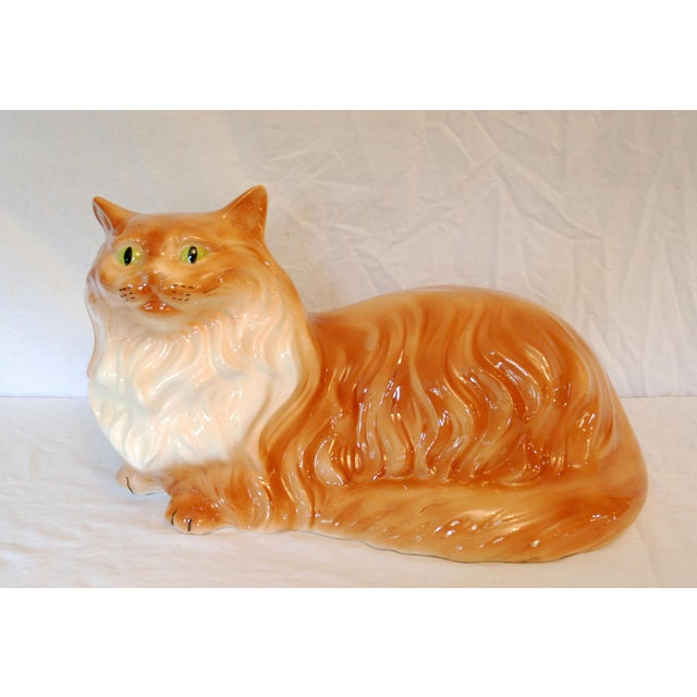 Life Size Mid-Century Long Hair Tabby Cat For Sale - Image 5 of 5