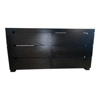 Contemporary West Elm Chocolate Square Cut Out 6 Drawer Dresser For Sale