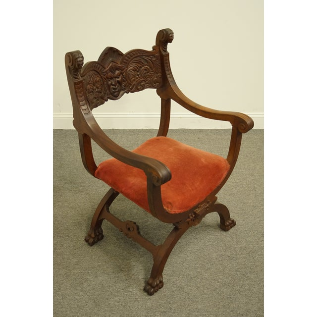 1920's Antique Jacobean Gothic Revival Carved Accent Arm Chair For Sale - Image 4 of 10
