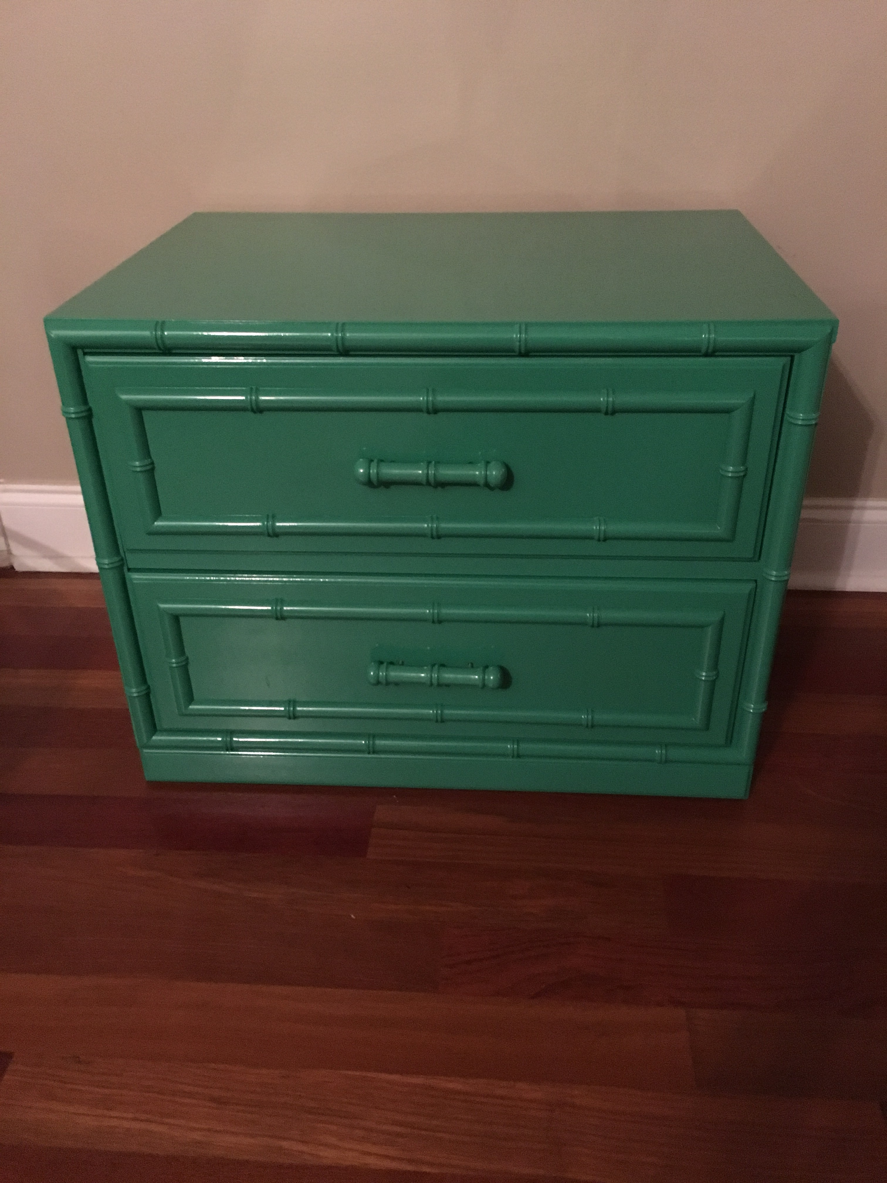 Lacquered In Sherwin Williams Kelly Green. Aloha Dixie Faux Bamboo.
