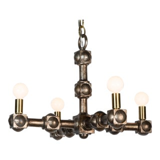 Mid-Century 1970s Restored Chandelier in Champagne Finish