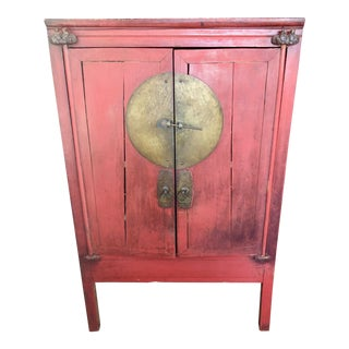 19th Century Chinese Red Lacquer Wedding Cabinet