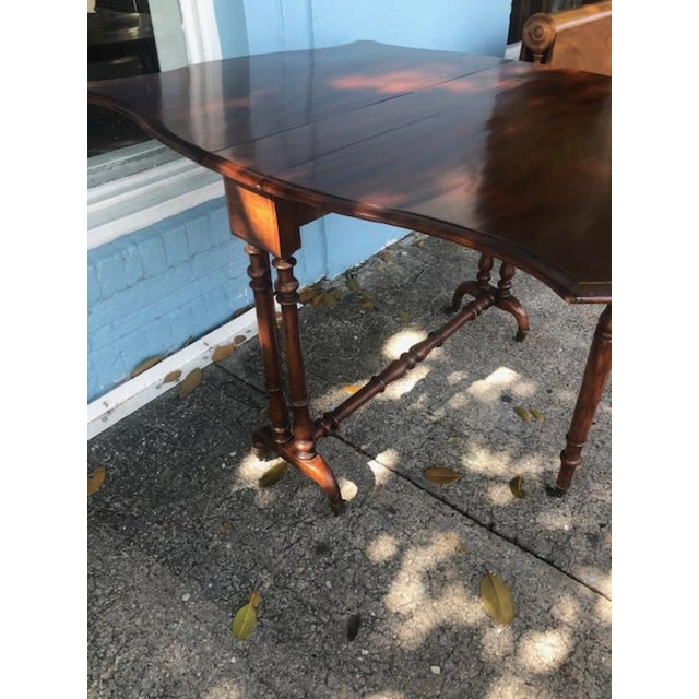 Late 19th Century Antique English Mahogany Drop Leaf Table For Sale - Image 5 of 7