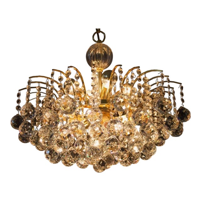 Hollywood Regency Christoph Palme Chandelier Gilded Brass and Crystal Glass For Sale - Image 3 of 13