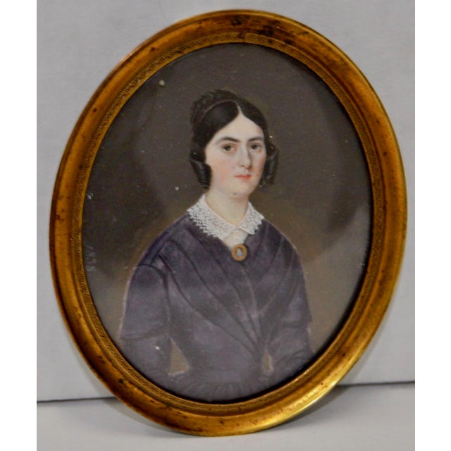 Mid 19th Century Miniature Portrait of a Young Woman C.1838 For Sale - Image 4 of 4