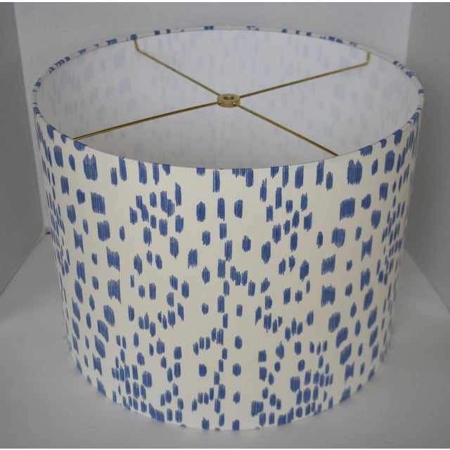 - New, custom, handcrafted lampshade - Fabric: Cadet Blue Les Touches. Colors include white, and blue. - Lining: White...