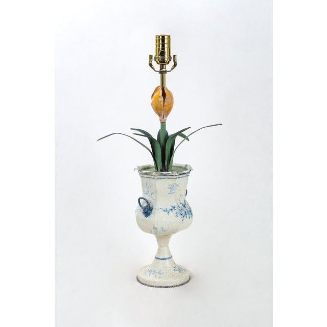 Blue & White Tole Trophy Shaped Lamp With Faux Flower For Sale In New York - Image 6 of 6