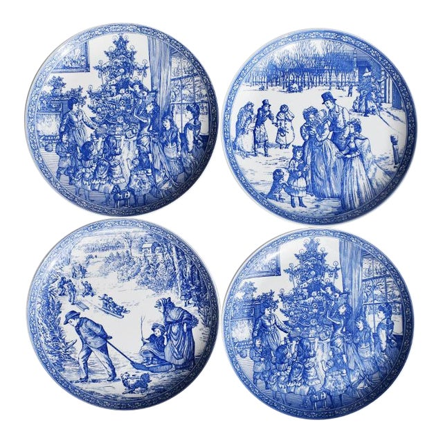 Spode Georgian Blue and White Ceramic Christmas Plates - Set of 4 For Sale