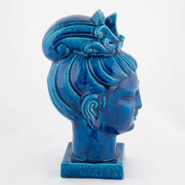 "Blue ""Rimini Blu"" Ceramic Guan Yin Bust by Aldo Londi for Bitossi, Circa 1960s For Sale - Image 8 of 13"