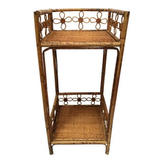 Vintage Mid-Century Rattan and Wicker Plant Stand For Sale