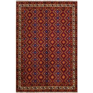 Modern Balouchi Alfreda Red & Ivory Wool Rug- 5'9 X 7'9 For Sale