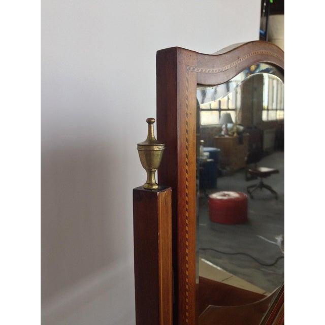 English Inlaid Vanity & Beveled Mirror - Image 4 of 6