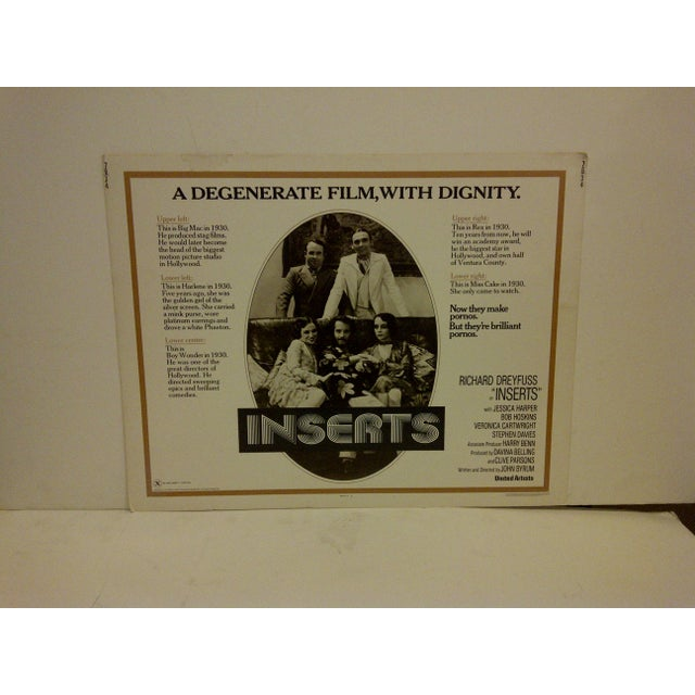 """A vintage movie poster """"Inserts,"""" starring Richard Dreyfuss and Jessica Harper. 76/34 Copyright 1976, United Artists..."""