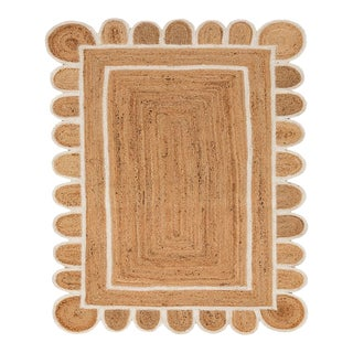 Scallop White Jute Hand Made Rug 3x6 Ft. For Sale