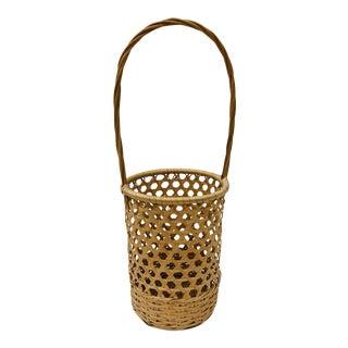 Vintage Woven Wicker Basket Carrier For Sale