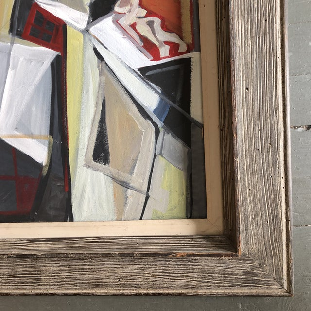 Original Contemporary Stewart Ross Modernist Roof Top Abstract Large Painting Vintage Modernist Frame For Sale - Image 4 of 6