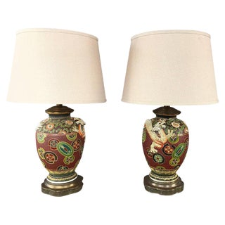 Pair of Asian Dragon and Charm Motif Hand-Decorated Ceramic Table Lamps For Sale