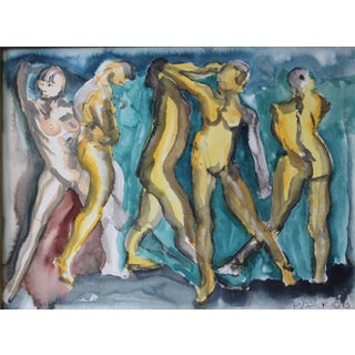 "Contemporary Figurative Acrylic Wash in Yellow and Blues ""Cinque"" by Peter Ruddick For Sale"