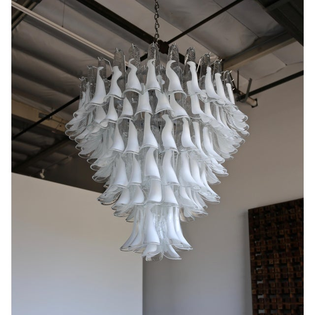 "Mazzega Large Scale Murano "" Selle "" Glass Chandelier Circa 1988 For Sale - Image 11 of 13"