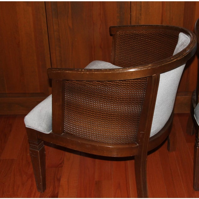 Traditional Morganton Barrel Cane Chairs - A Pair For Sale - Image 3 of 5