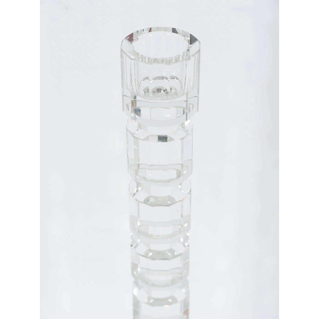Crystal Art Deco Style Geometric Cut Crystal Candleholders by Shannon For Sale - Image 7 of 9