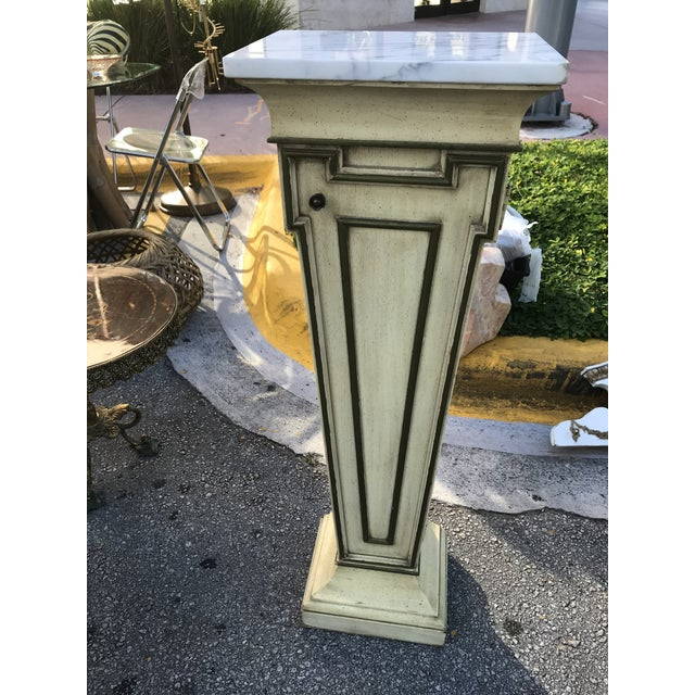 Gold Mid-Century Marble Top Display Pedestal For Sale - Image 8 of 8