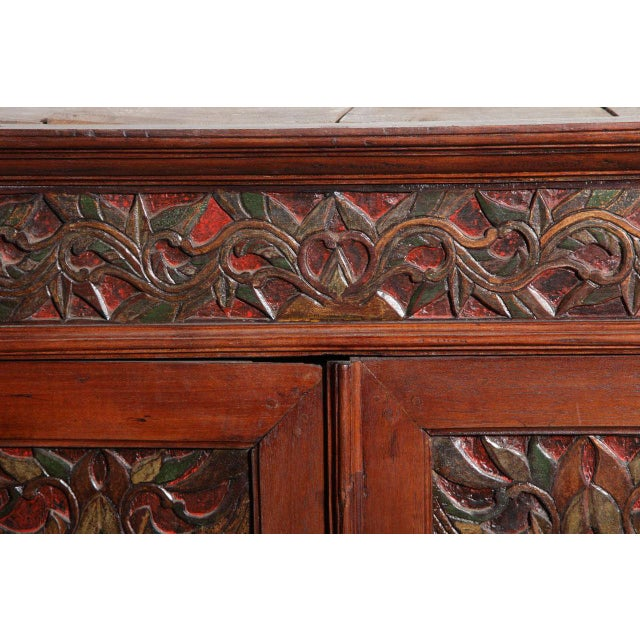 Brown Antique Javanese Teakwood Cabinet with Detailed Carvings, Early 20th Century For Sale - Image 8 of 11