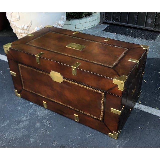Maitland - Smith Maitland Smith Designer Leather Campaign Trunk For Sale - Image 4 of 6