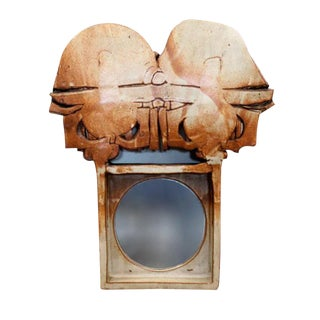 Large Michael Cohen Studio Pottery Mirror For Sale