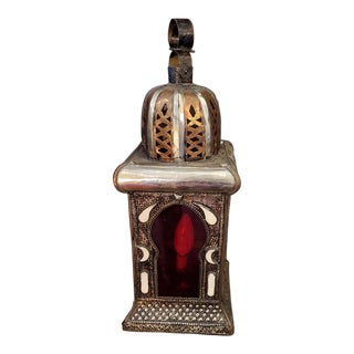 Red Moroccan Koutoubia Table Lamp or Lantern, Handmade For Sale