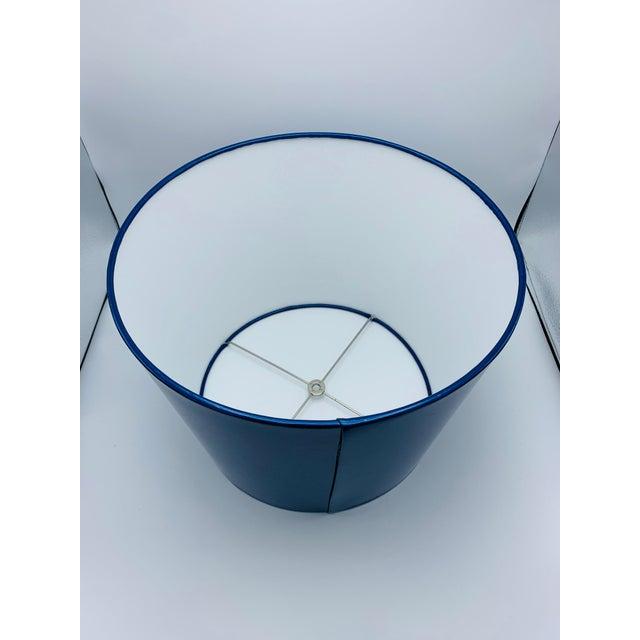 Custom Metallic Blue Vinyl Lampshade For Sale In Richmond - Image 6 of 8