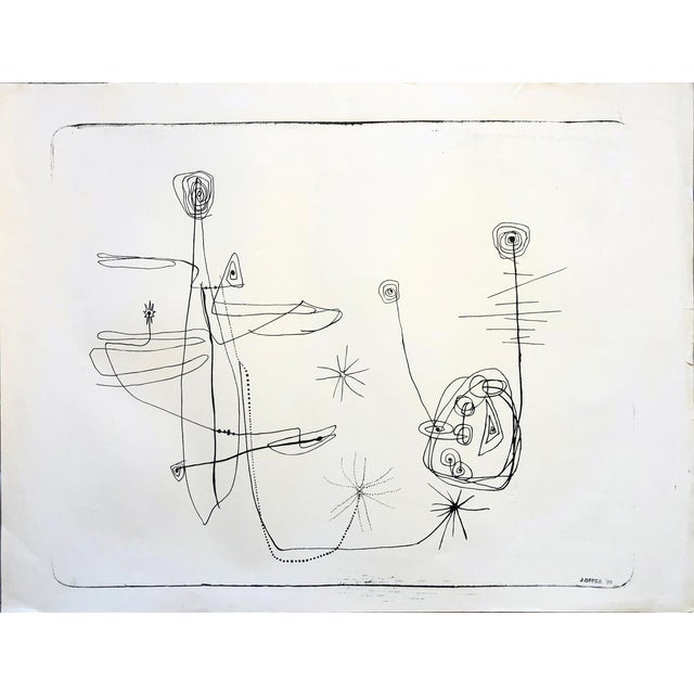 Jerry Opper 1940-50s Abstract Line Print For Sale