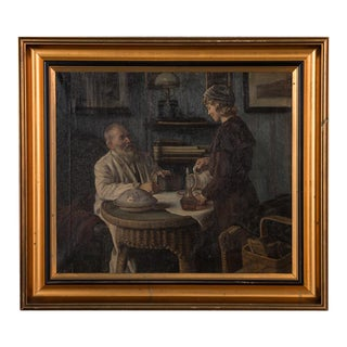 Early 20th Century Antique Sophus Vermehren Father and Daughter in Interior Scene Oil on Canvas Painting For Sale