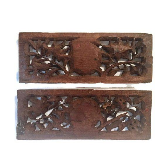 1940s Antique Chinese Wood Carved Panels - A Pair For Sale - Image 12 of 13
