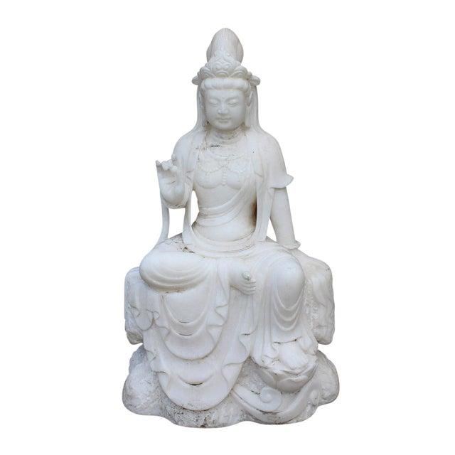Chinese Marble Stone Kwan Yin Tara Bodhisattva Statue For Sale