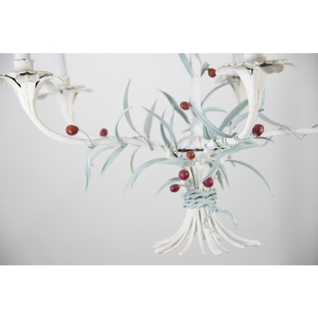 White Italian Tole Chandelier For Sale - Image 8 of 9