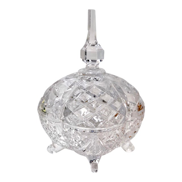Late 20th Century Vintage Crystal Footed Candy Dish For Sale