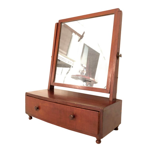Wood 1900s Arts and Crafts British Desktop Vanity Mirror With Hidden Drawer For Sale - Image 7 of 7