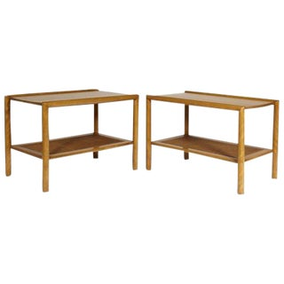 1950s Leslie Diamond for Conant Ball Caned Side Tables - A Pair