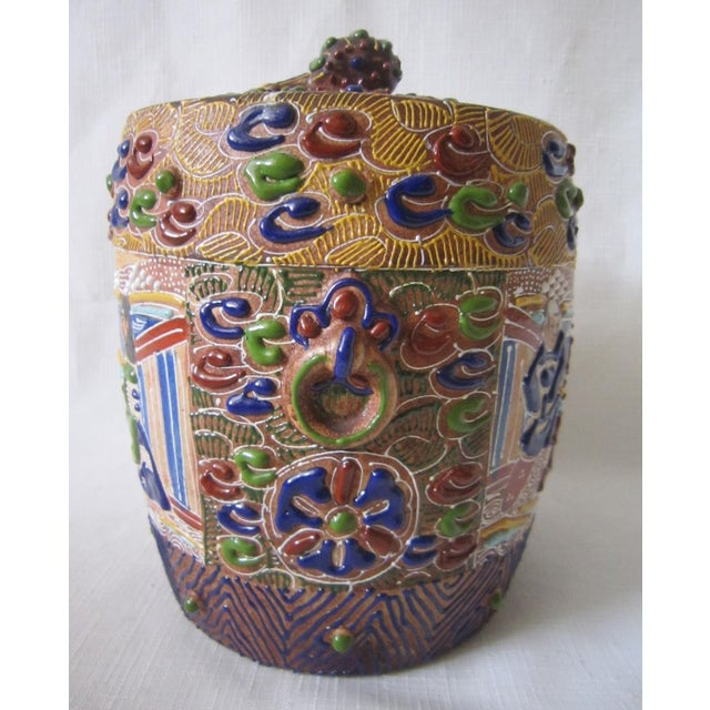Japanese Japanese Satsuma Moriage Jar For Sale - Image 3 of 6