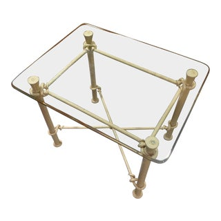 Ethan Allen Iron & Beveled Glass End Table For Sale