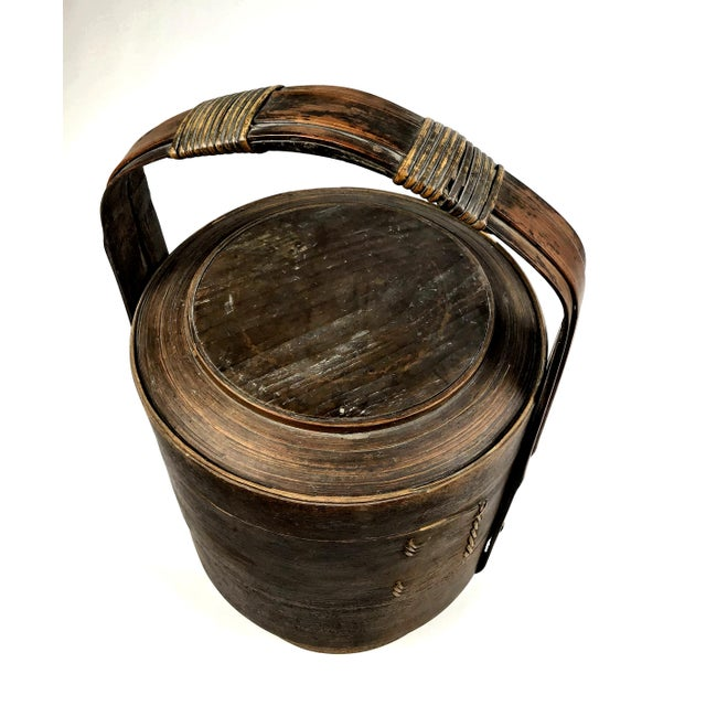 1900 - 1909 1900s Chinese Wood and Reed Wedding Basket For Sale - Image 5 of 13