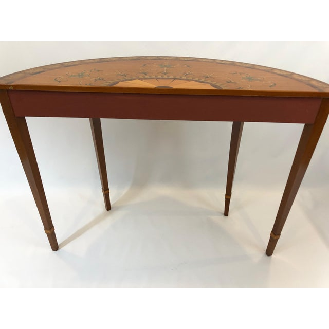 1970s Traditional Hand Painted Demilune Console Table For Sale - Image 12 of 13