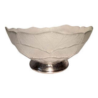 Mid 20th Century Vintage Silver Footed Crystal Bowl For Sale