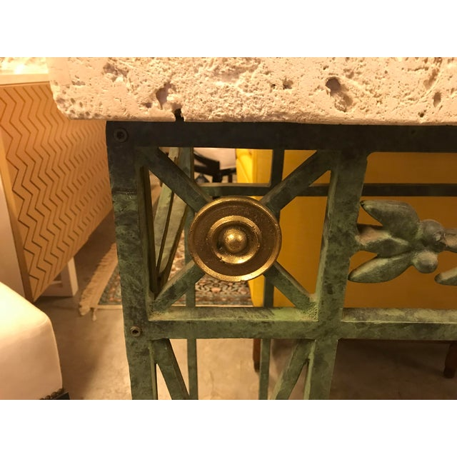 This is an amazing coral stone top, verdigris wrought iron console table. The coral stone has been left with its natural...