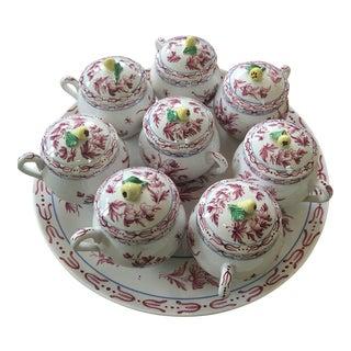 Vintage Italian Hand Painted Pottery Pots De Creme - Set of 8