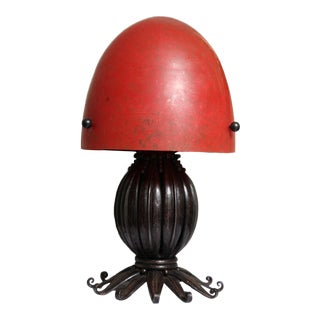Louis Katona French Wrought Iron and Glass Table Lamp For Sale